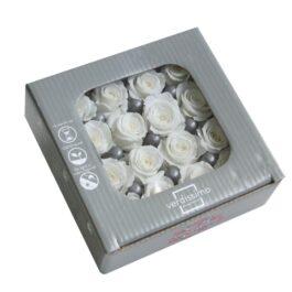 Rosa Stabilizzata Bianco cm 2,5 Confezione 16 pz