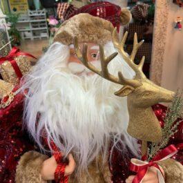 Babbo Natale vestito rosso con Cervo