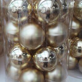 Sfere Vetro Natale Oro Lucido