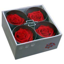 Rosa Stabilizzata PREMIUM Rossa Diam. 8 cm  Confezione 4 pz