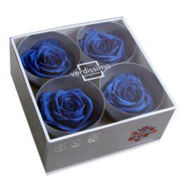 Rosa Stabilizzata PREMIUM Blu Diam. 8 cm  Confezione 4 pz